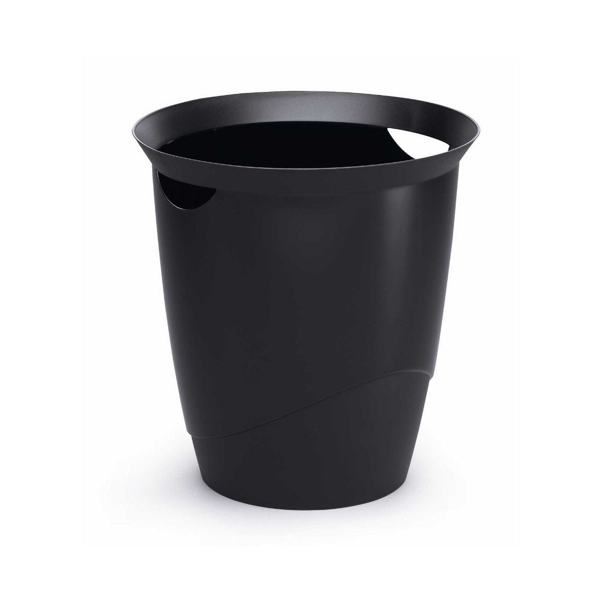 Durable Plastic Waste Bin, Black
