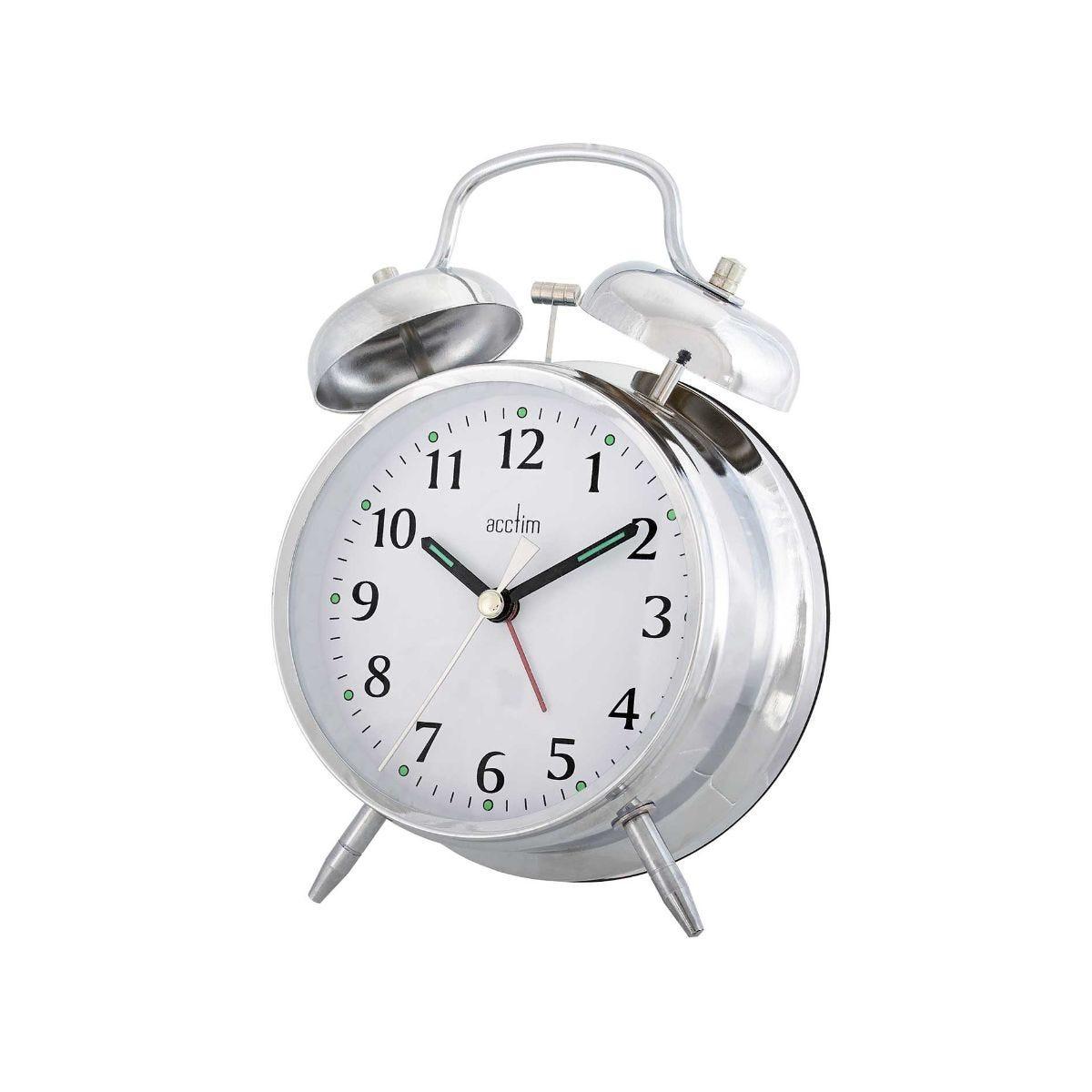 Image of Acctim Saxon Quartz Double Bell Alarm Clock Silver
