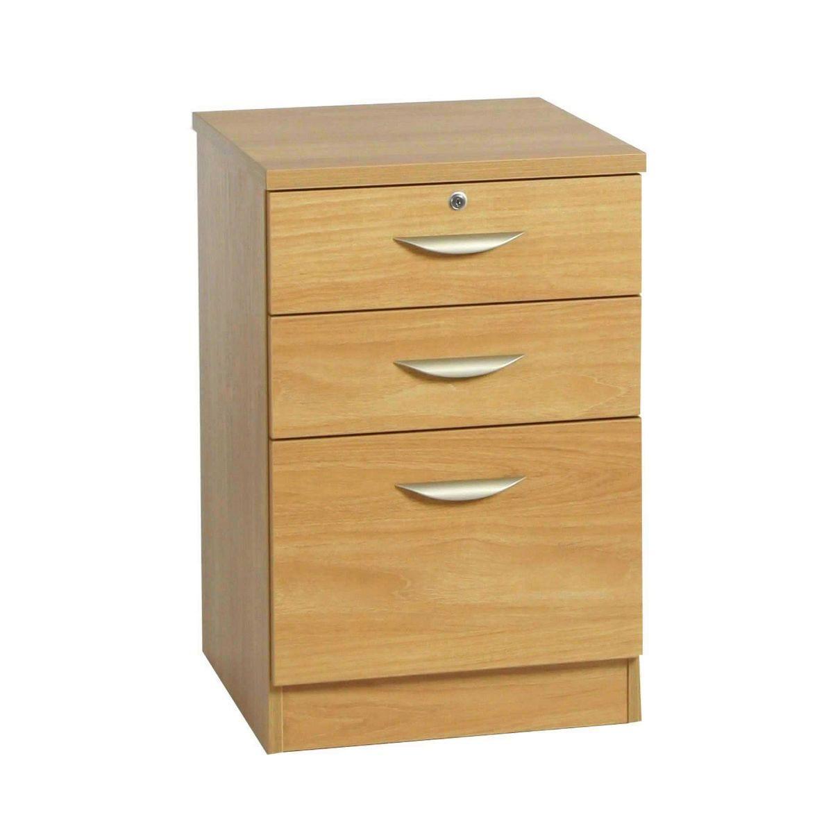 R White Combination Cabinet 3 Drawer B-3CU H728xW479xD540mm, Classic Oak