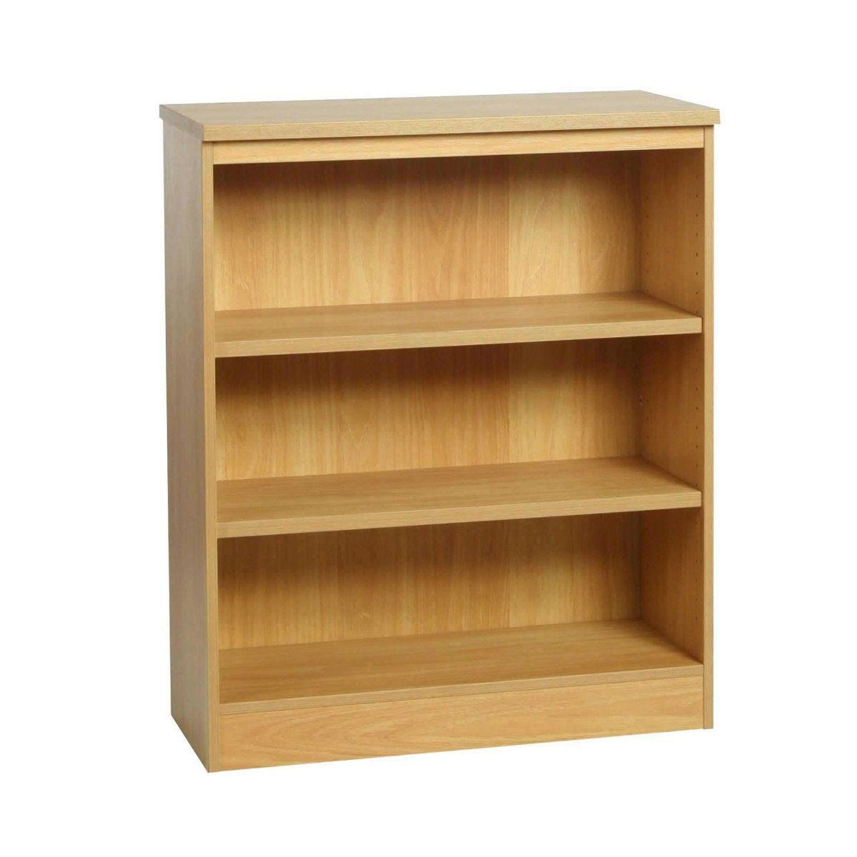 R White Mid Level Bookcase M-B85 H1032xW850xD370mm, Classic Oak