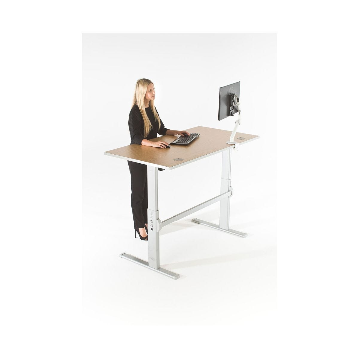 Big Jack Electrical Standing Desk, White