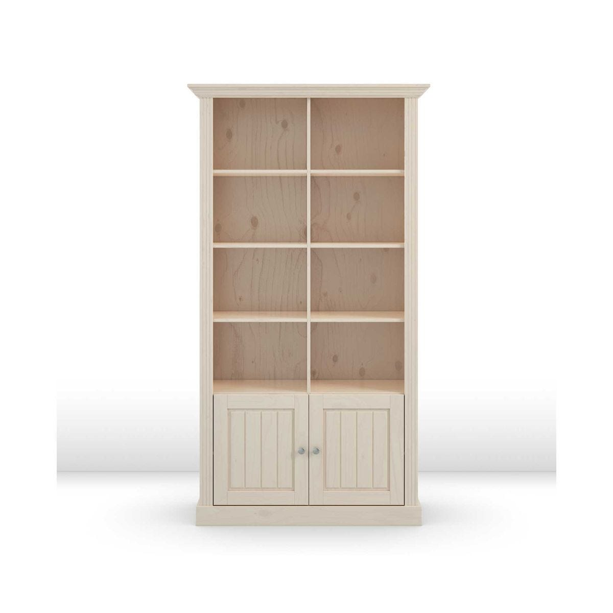 Steens Monaco 6 Shelf Bookcase with Doors, Whitewash