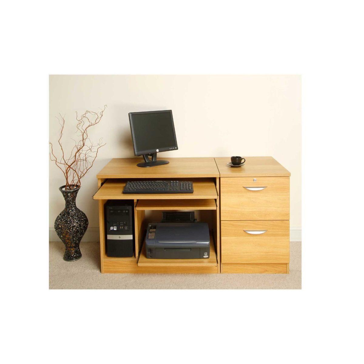 R White Lawrence Desk Workstation, Classic Oak