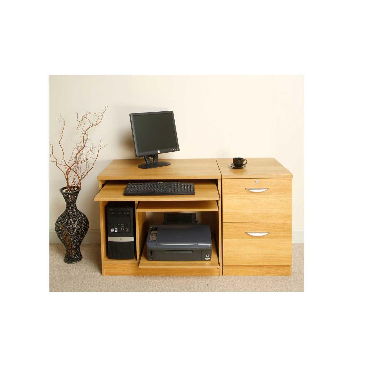 R White Lawrence Desk Workstation, English Oak
