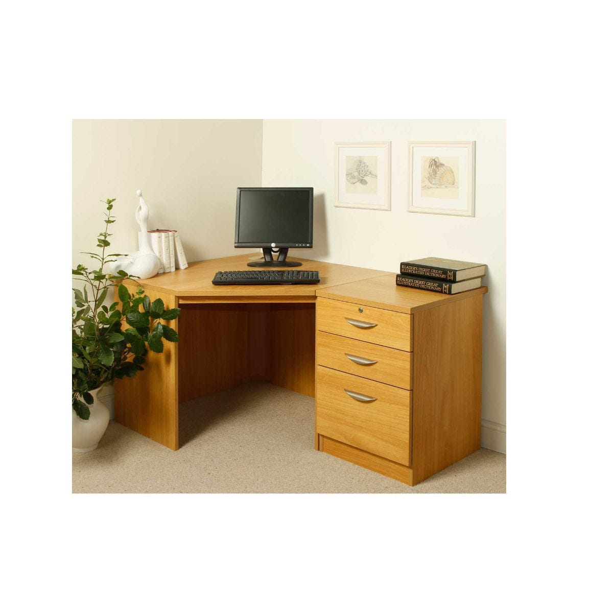 R White Burne Jones Desk Workstation, Walnut