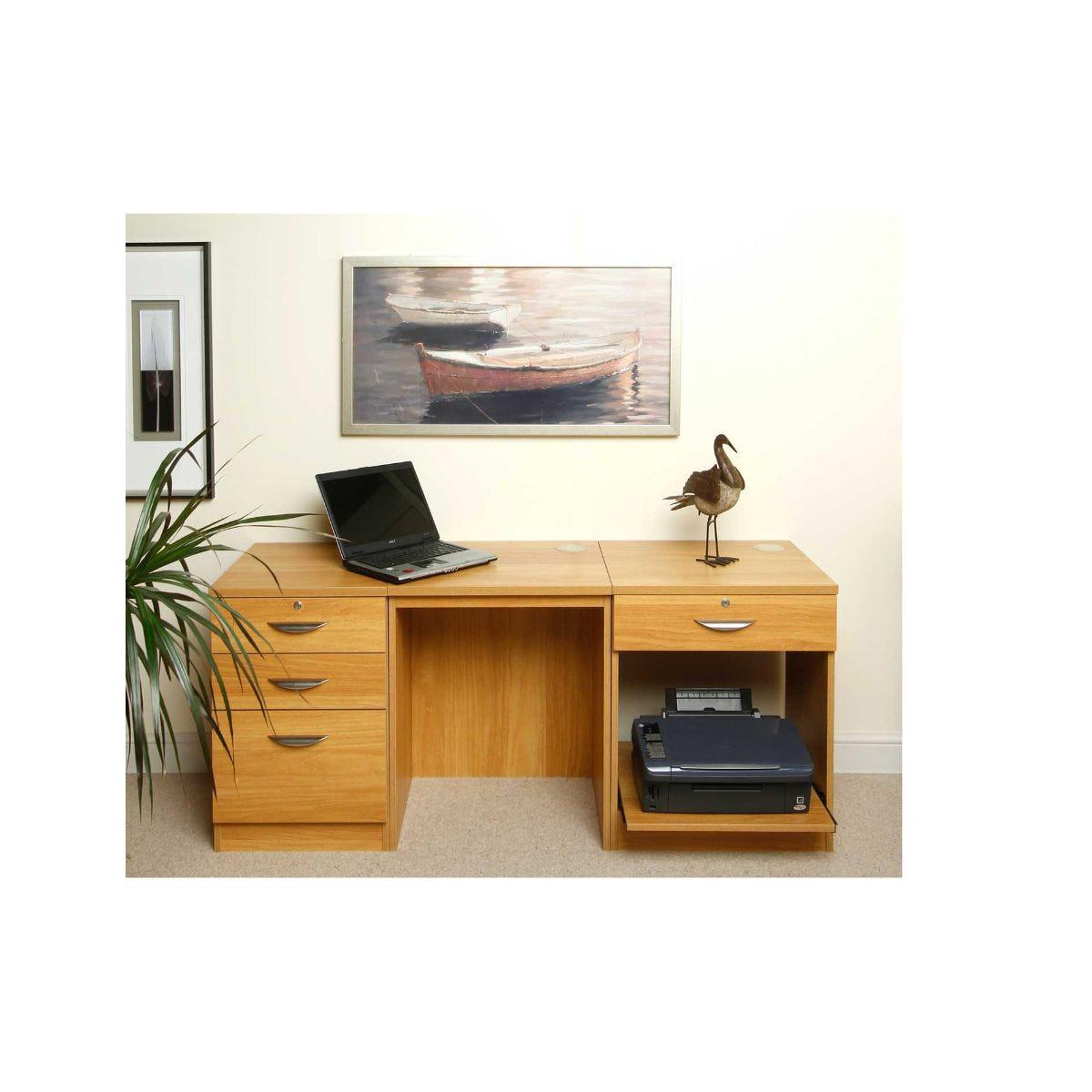 R White Hepworth Desk Workstation, Walnut