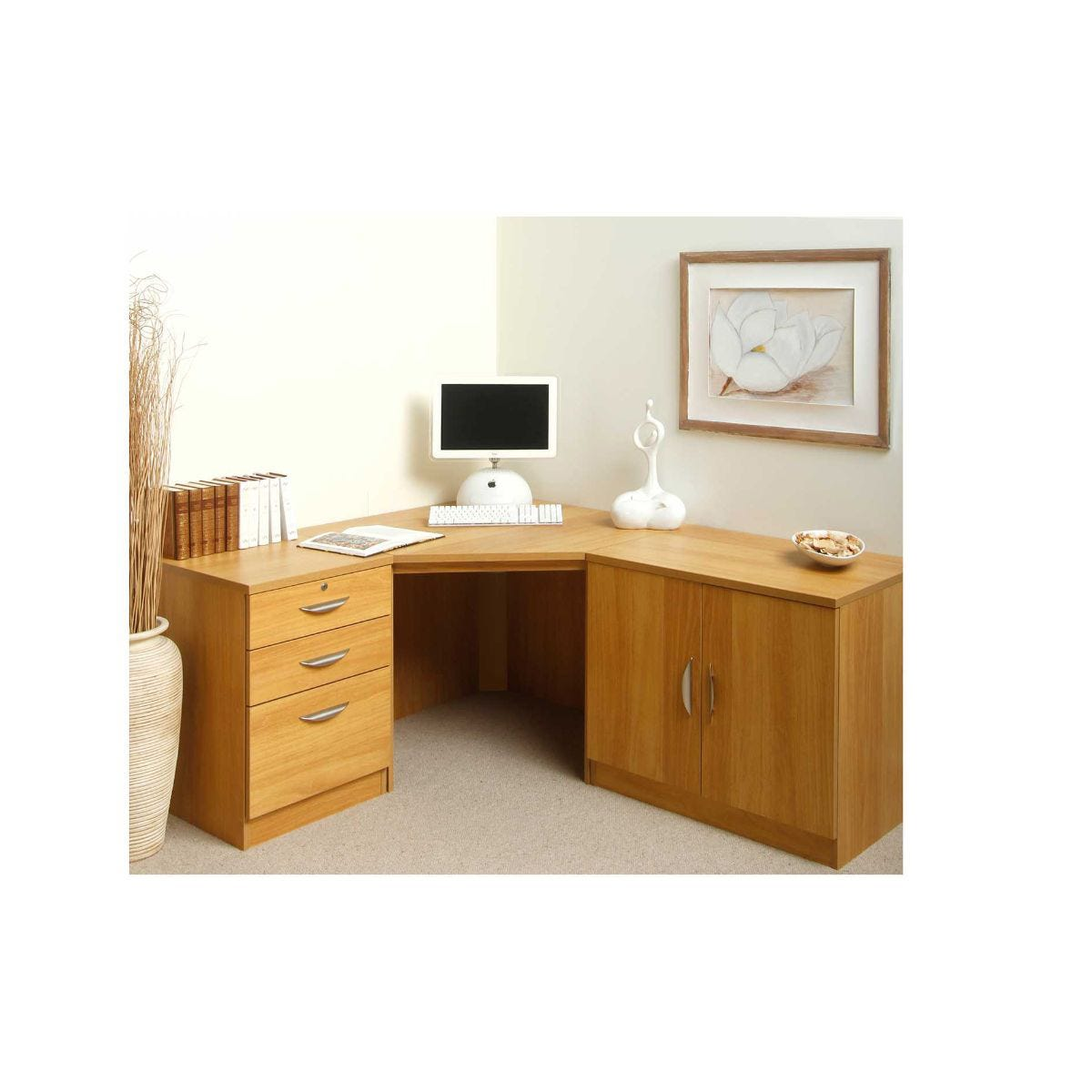 R White Milais Desk Workstation, Classic Oak