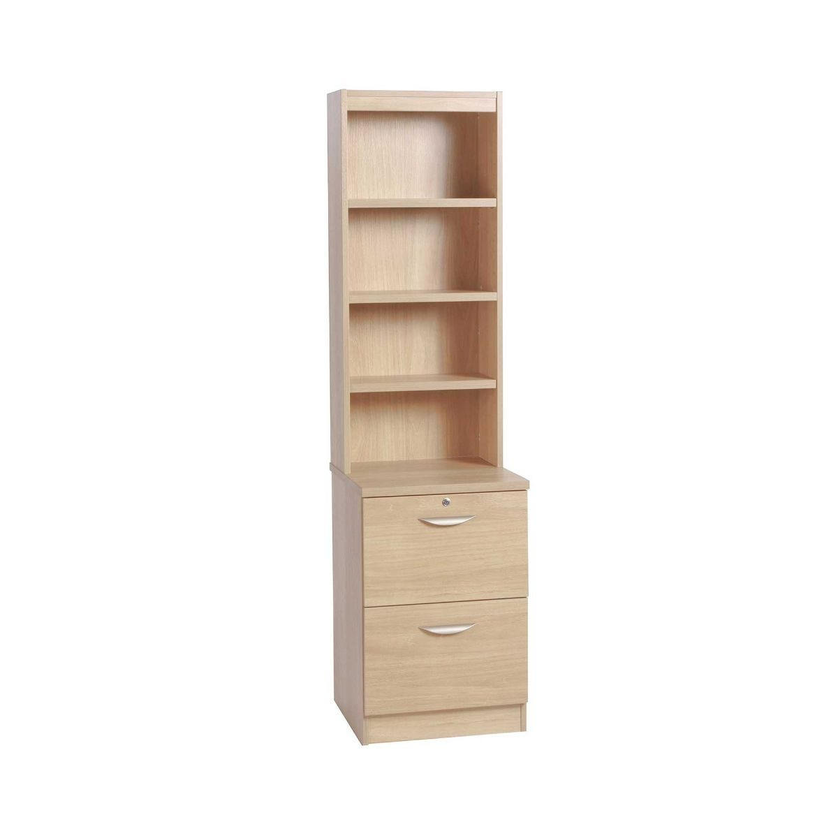 R White 2 Drawer Filing Cabinet With Overshelving, Beech Wood Grain