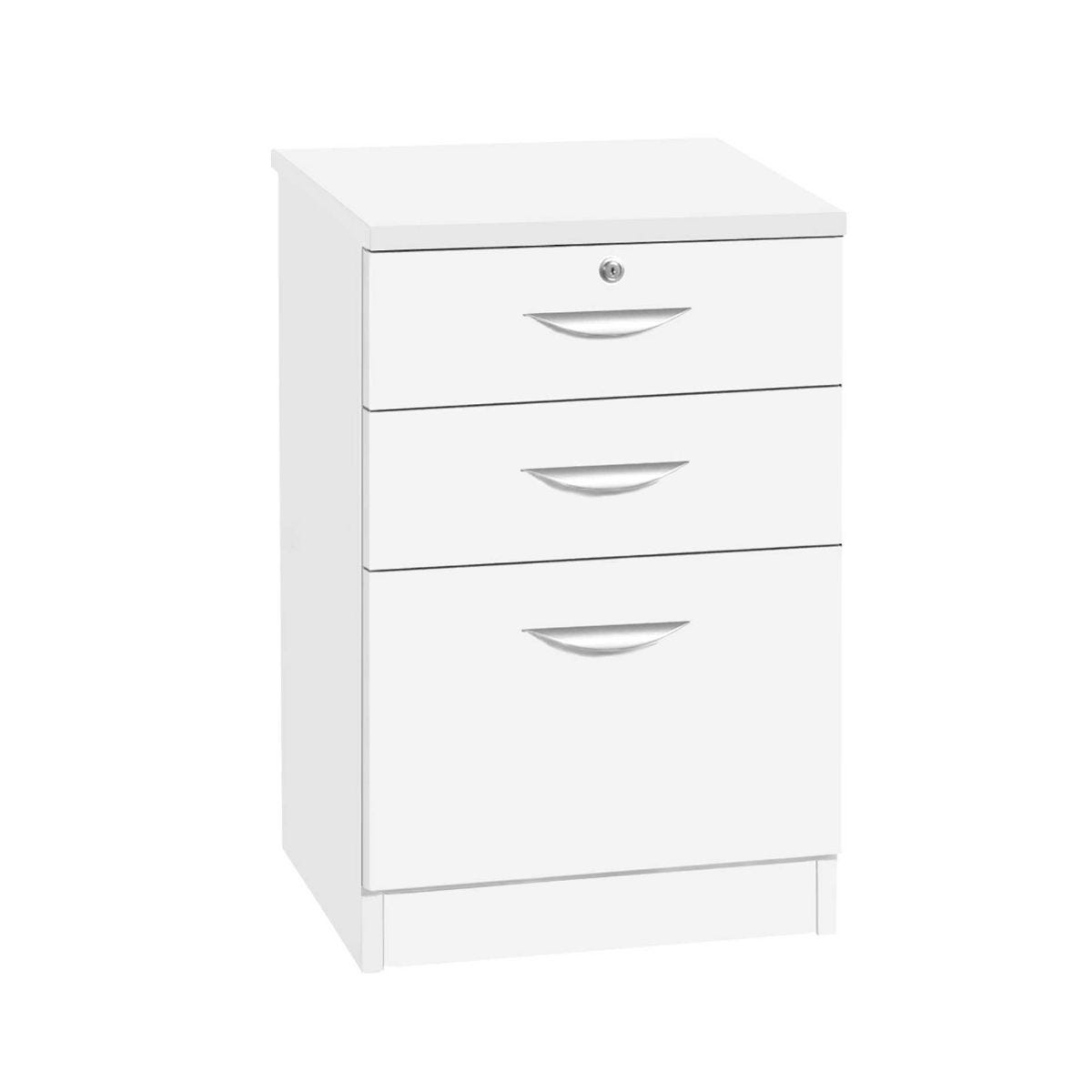 R White 3 Drawer Unit Filing Cabinet, White Satin