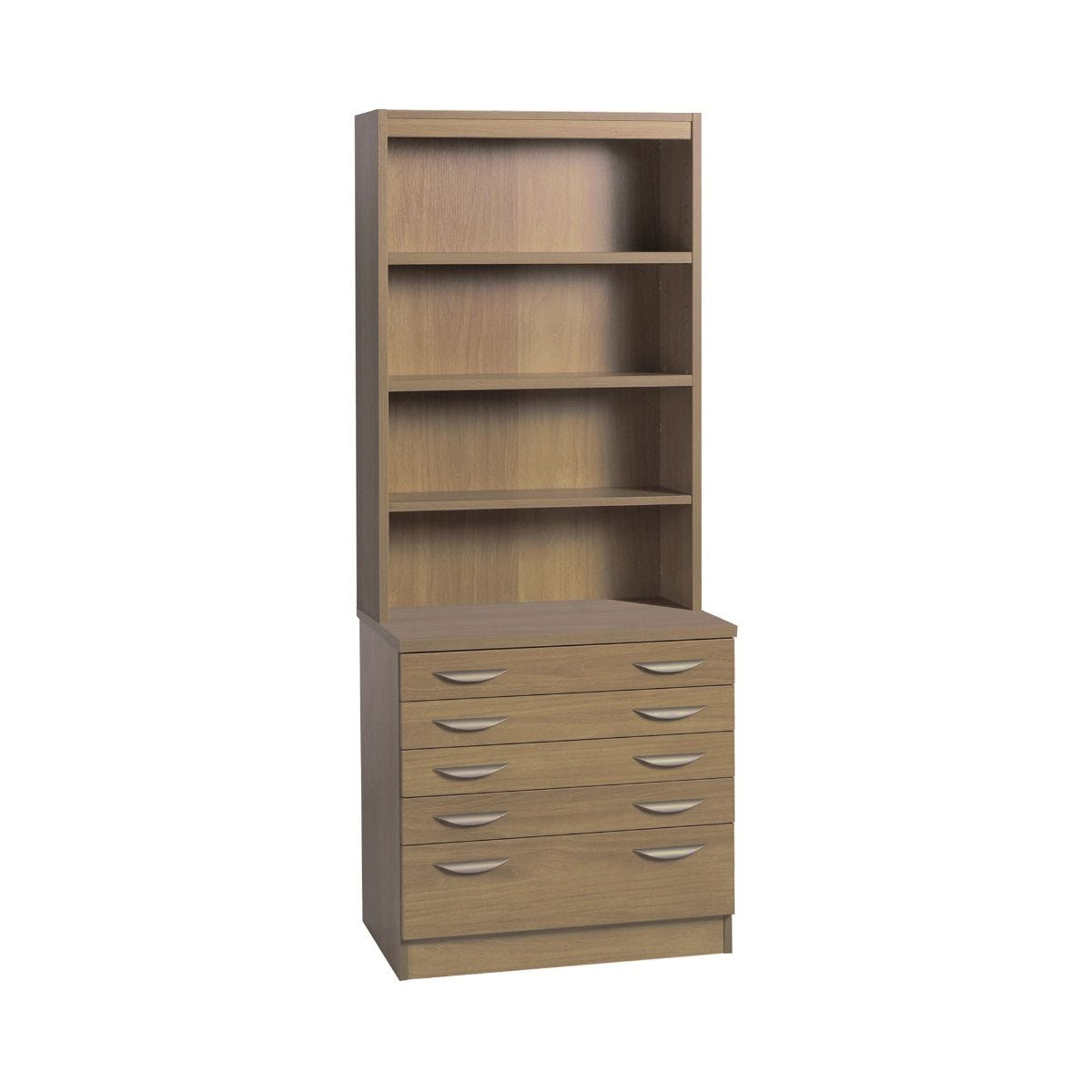 R White Professional 5 Drawer A2 Plan Chest with Overshelving, English Oak Wood Grain