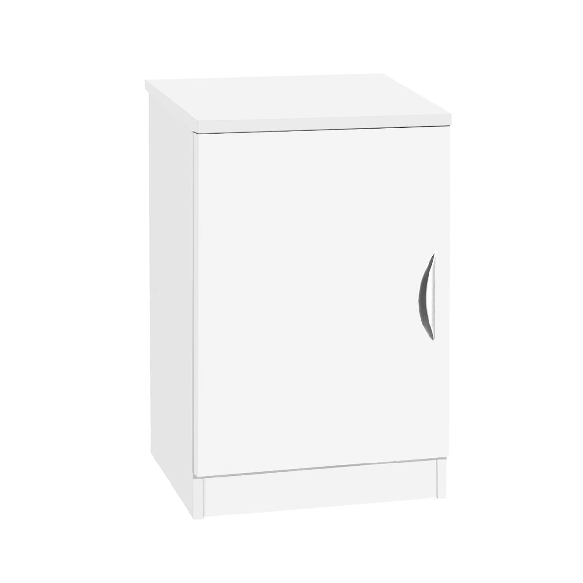R White Desk Height Wide Cupboard 48cm White Satin, White Satin
