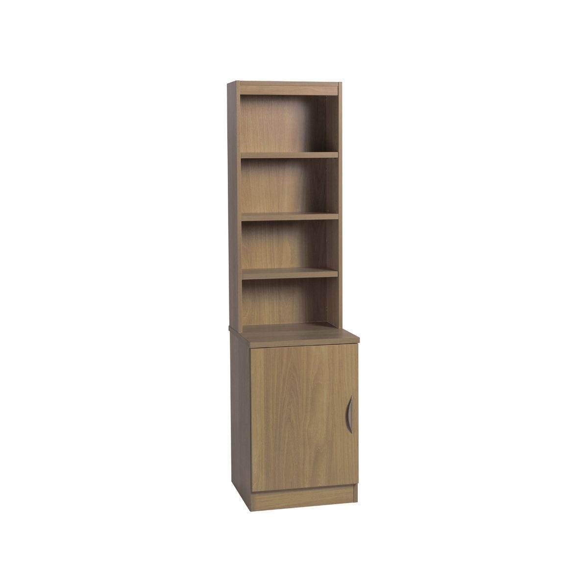 R White Desk Height Wide Cupboard 48cm with Overshelving, English Oak Wood Grain