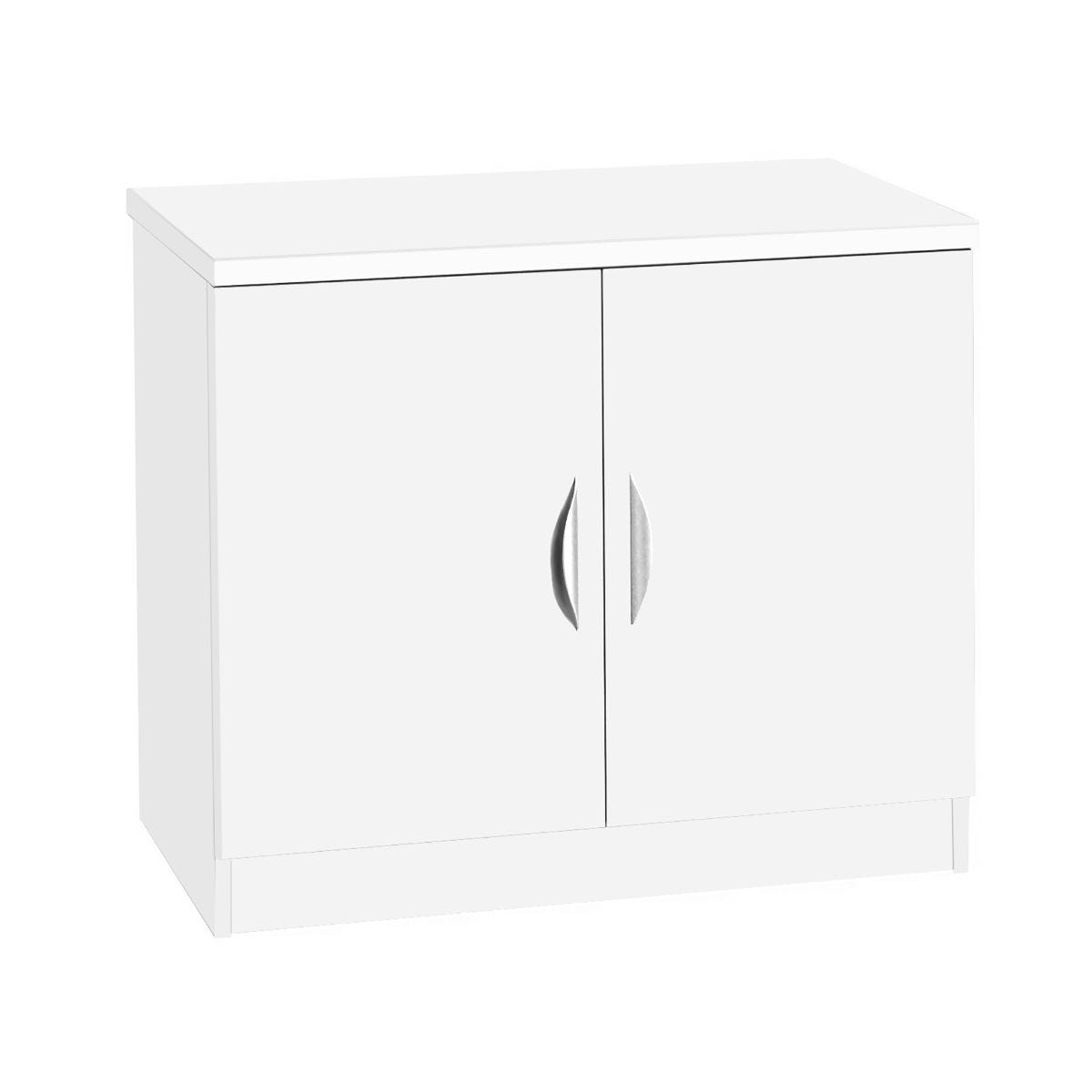 R White Desk Height Cupboard 85cm White Satin, White Satin