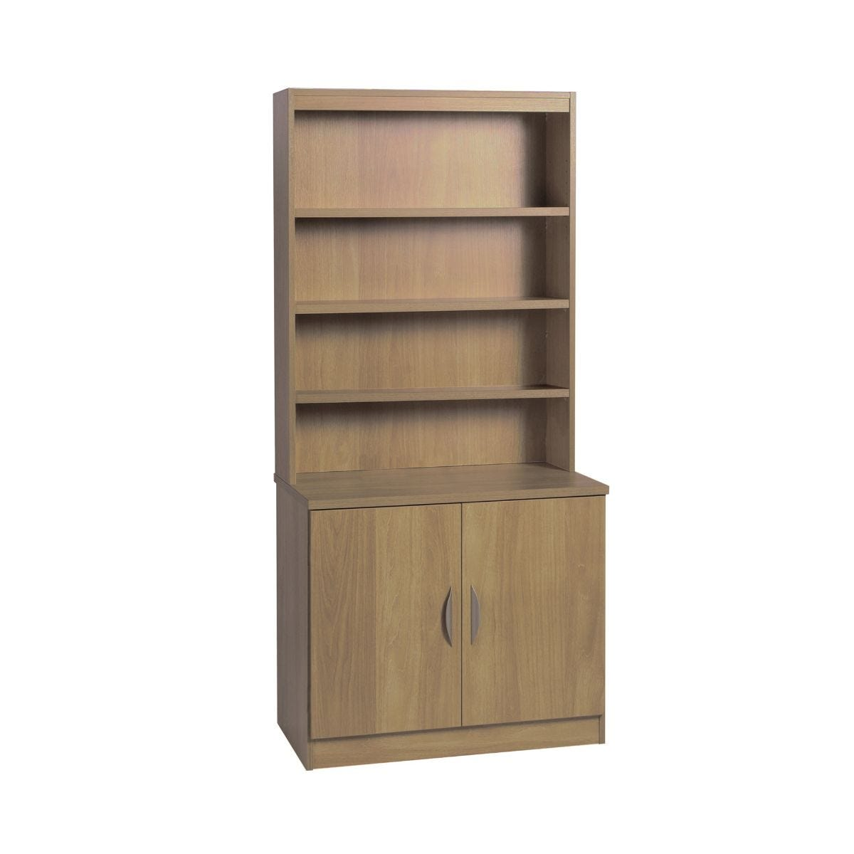 R White Desk Height Cupboard 85cm with Overshelving, English Oak Wood Grain