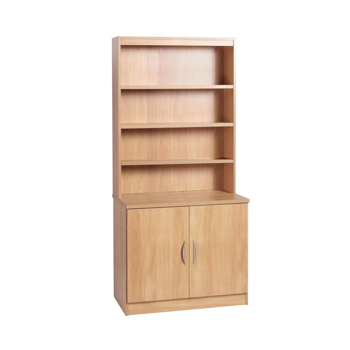 R White Desk Height Cupboard 85cm with Overshelving, Classic Oak Wood Grain