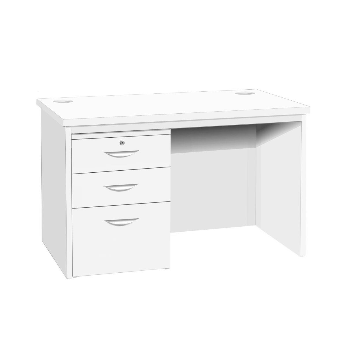 R White Home Office Freestanding Desk with Drawers, White