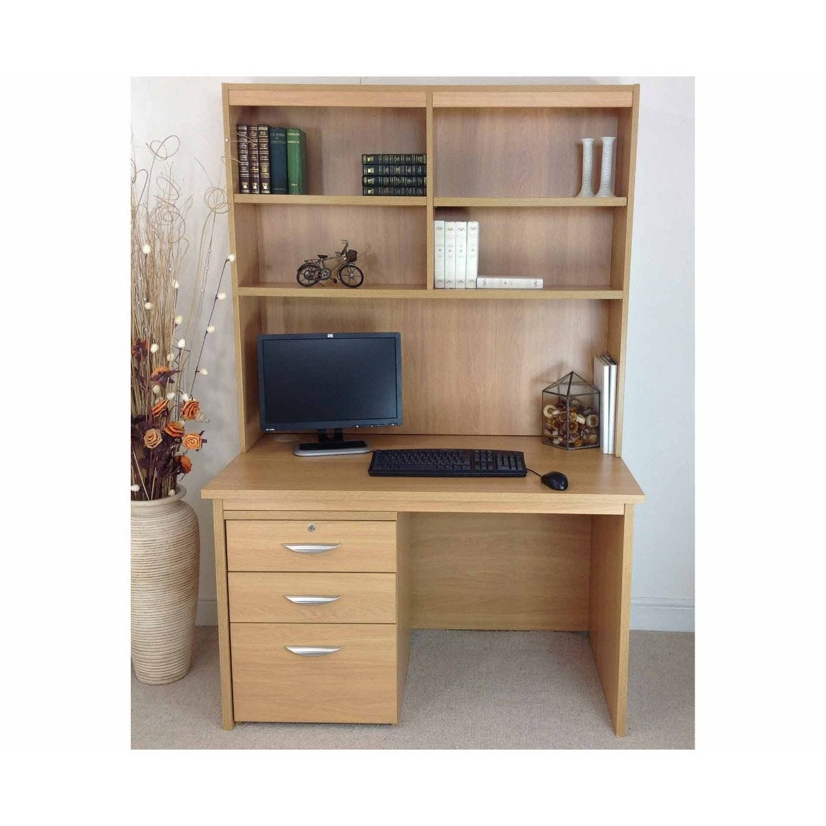 R White Home Office Freestanding Desk with Drawers and Overshelving, Classic Oak