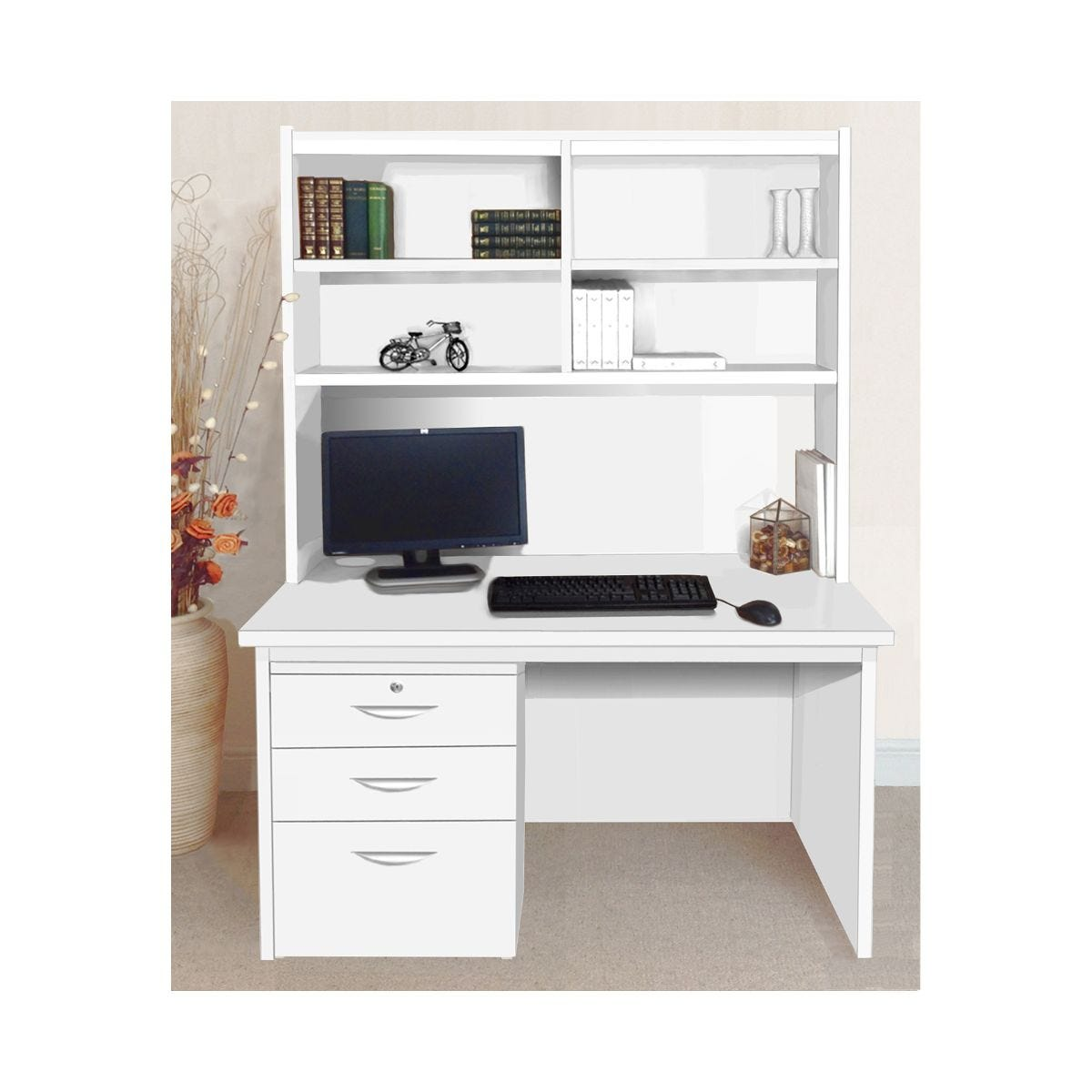 R White Home Office Freestanding Desk with Drawers and Overshelving, White