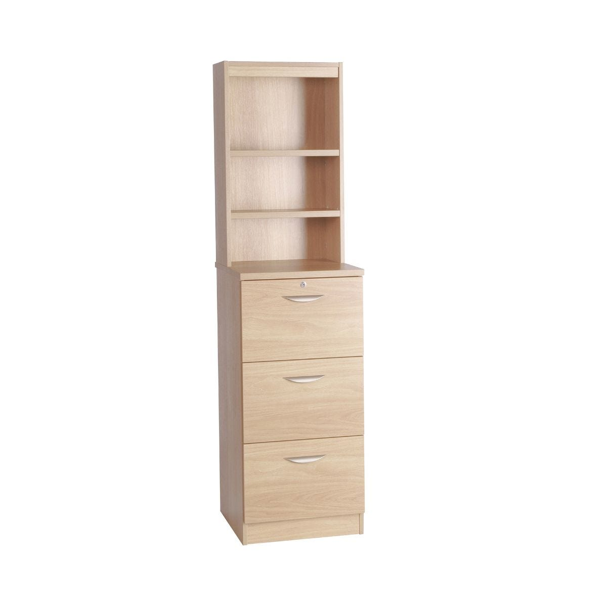 R White 3 Drawer Cabinet with Overshelving, Beech