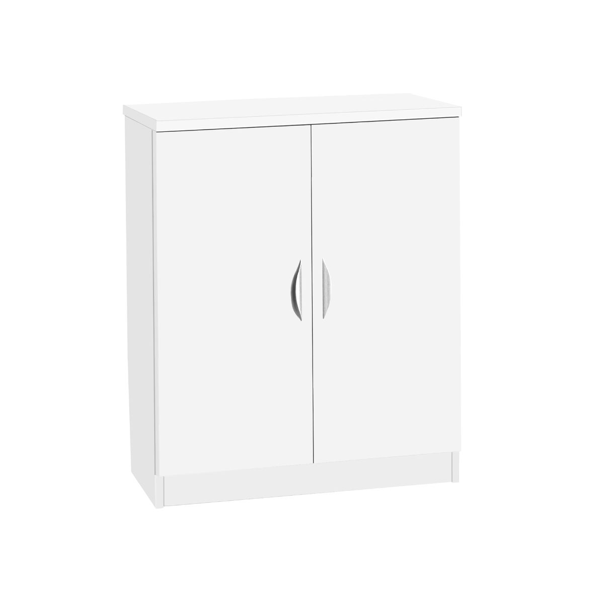 R White Two Door Mid Height Cupboard, White