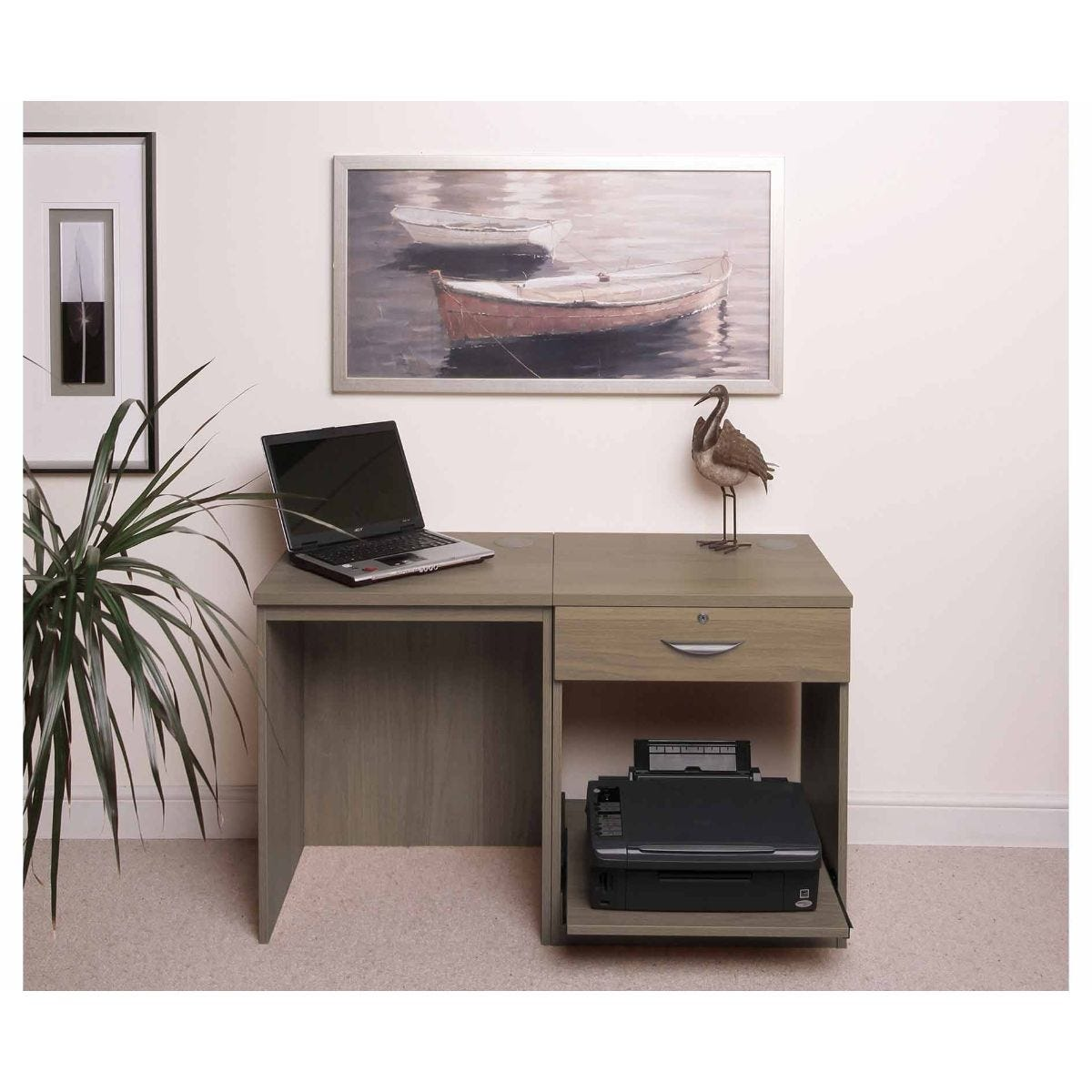 R White Home Office Desk Set with Drawer, English Oak