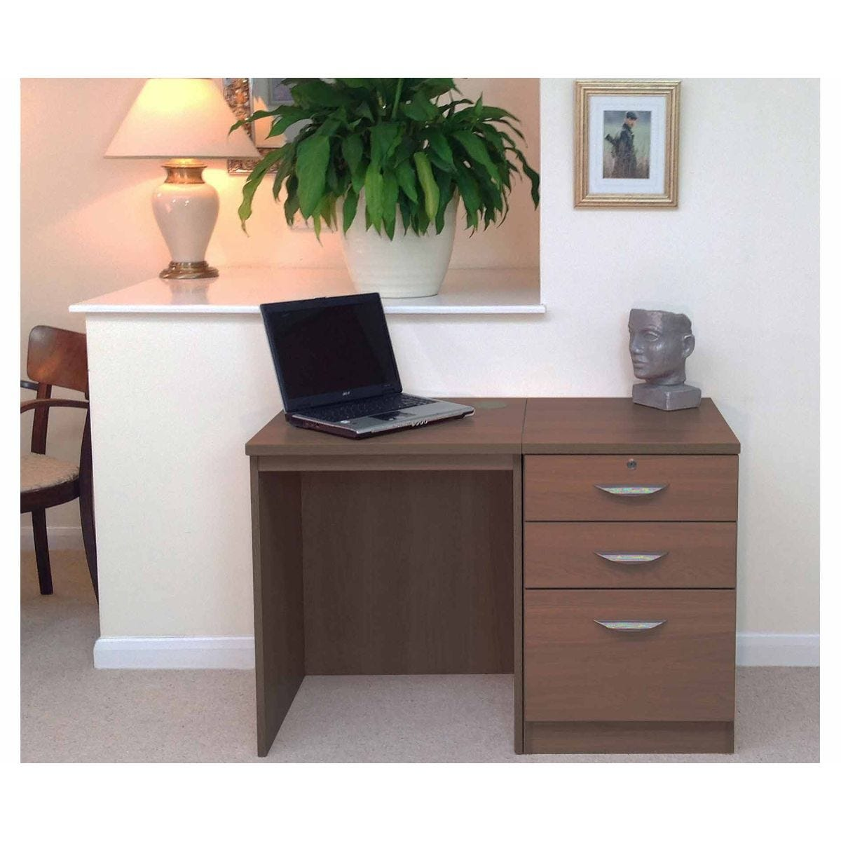 R White Home Office Desk Set with Drawers, Teak