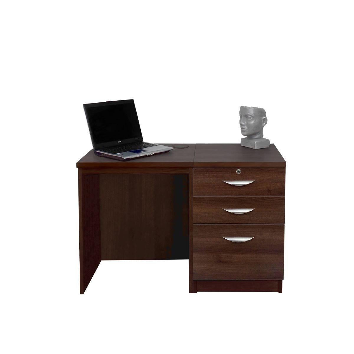 R White Home Office Desk Set with Drawers, walnut