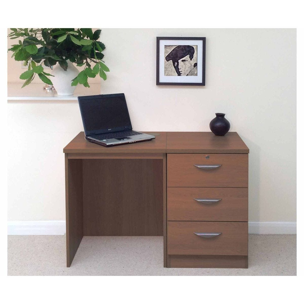 R White Home Office Desk with 3 Drawers, Teak