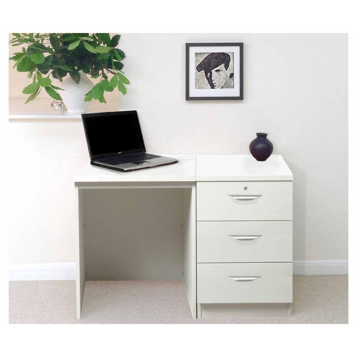 R White Home Office Desk with 3 Drawers, White