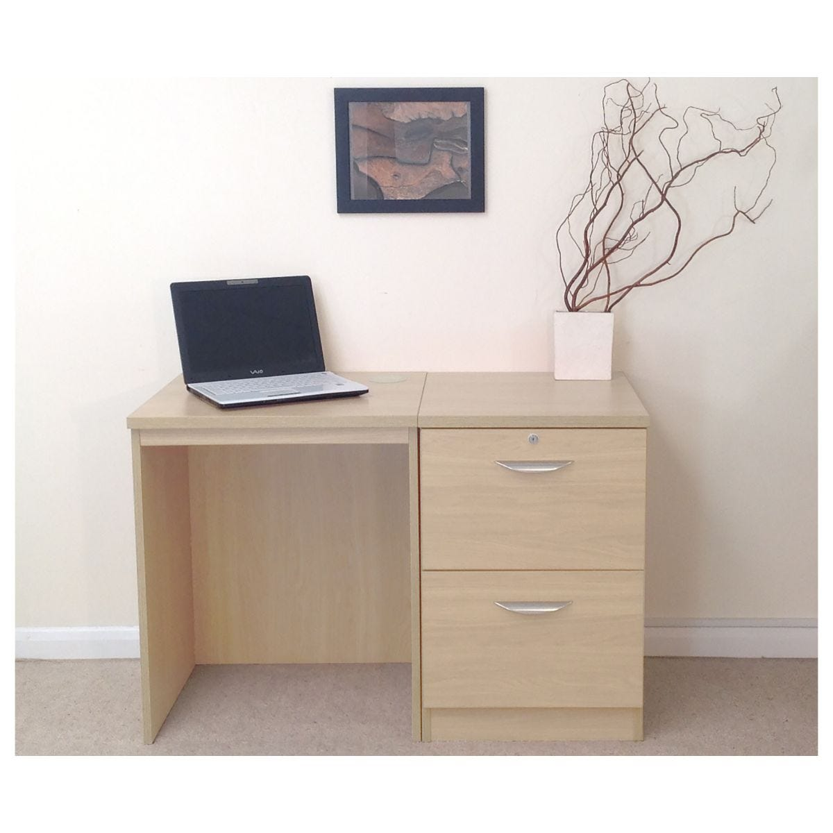 R White Home Office Desk Set with Two Drawers, Beech