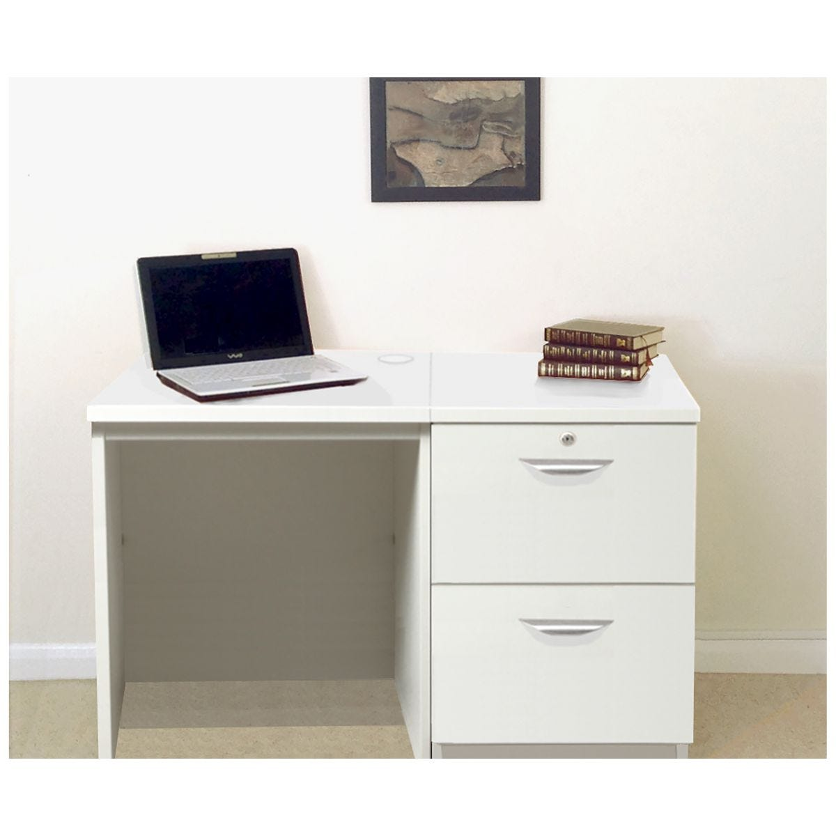 R White Home Office Desk Set with Two Drawers, White