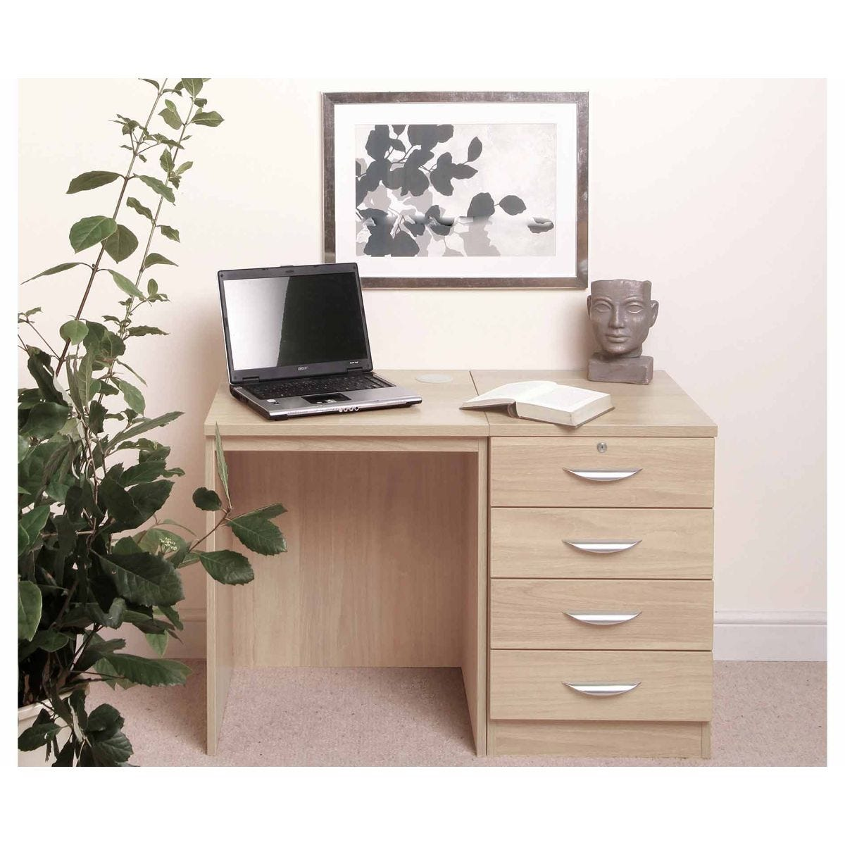 R White Home Office Desk Set with Four Drawers, Beech
