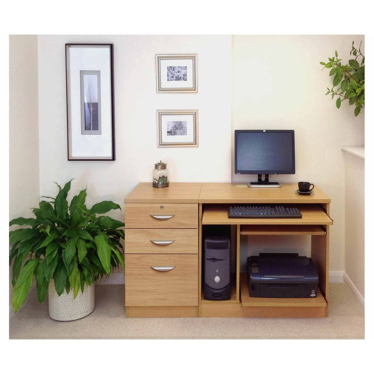 R White Home Office Computer Desk with Three Drawers, Classic Oak