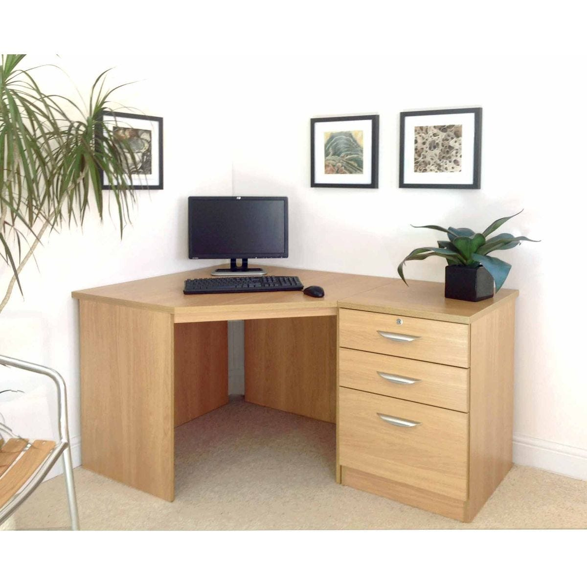 R White Home Office Corner Desk with Three Drawers, Classic Oak