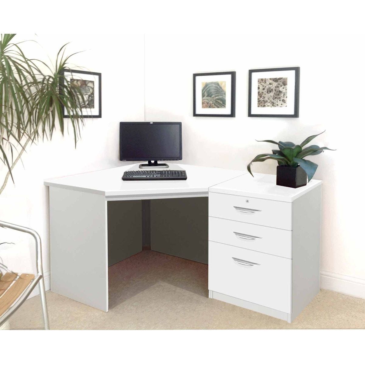 R White Home Office Corner Desk with Three Drawers, White