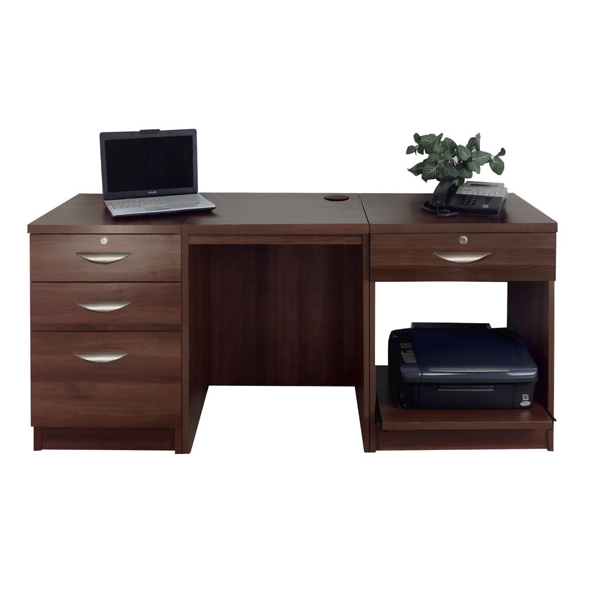 R White Home Office Furniture Desk Set with Drawers and Storage, Walnut