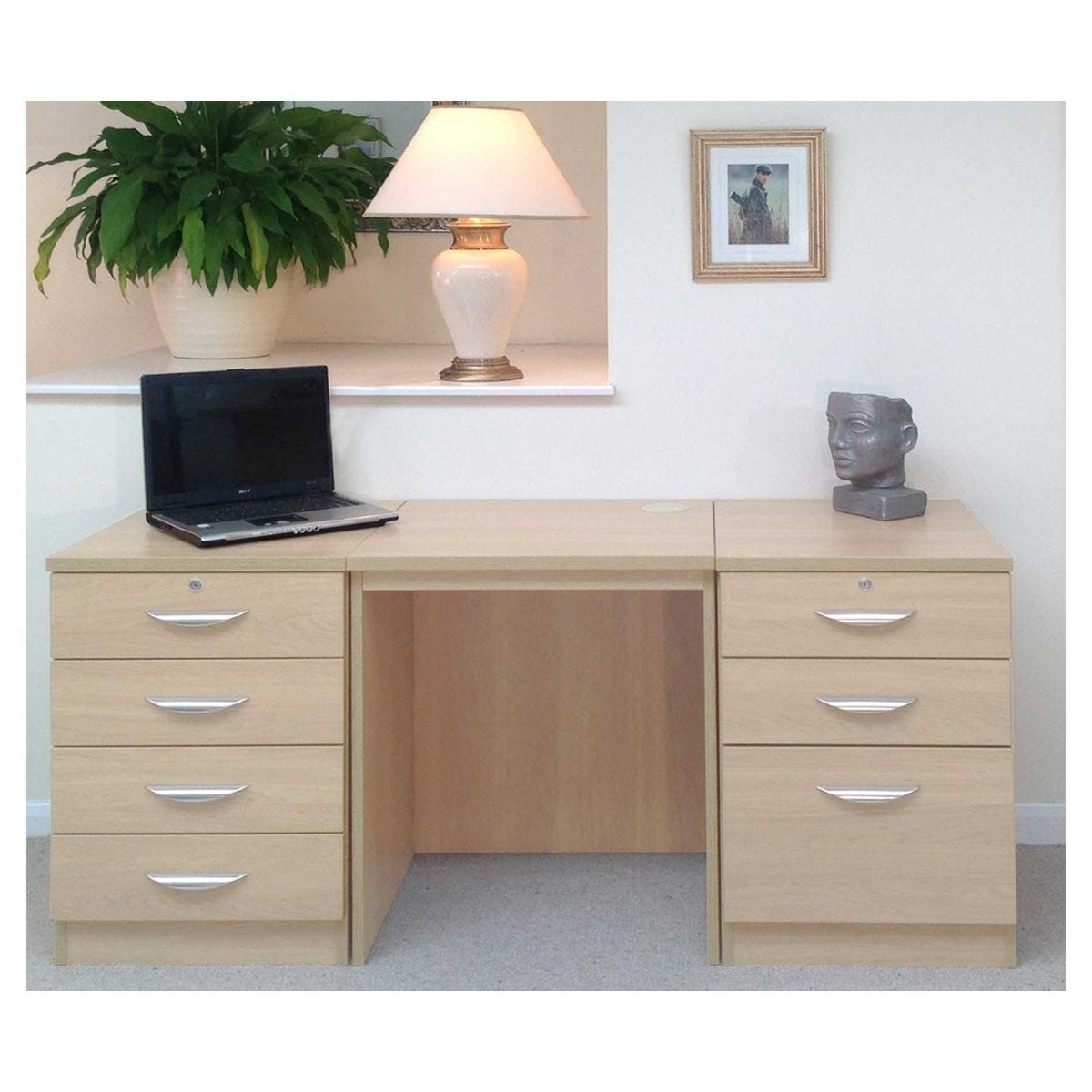 R White Home Office Furniture Desk Set with Double Drawers, Beech