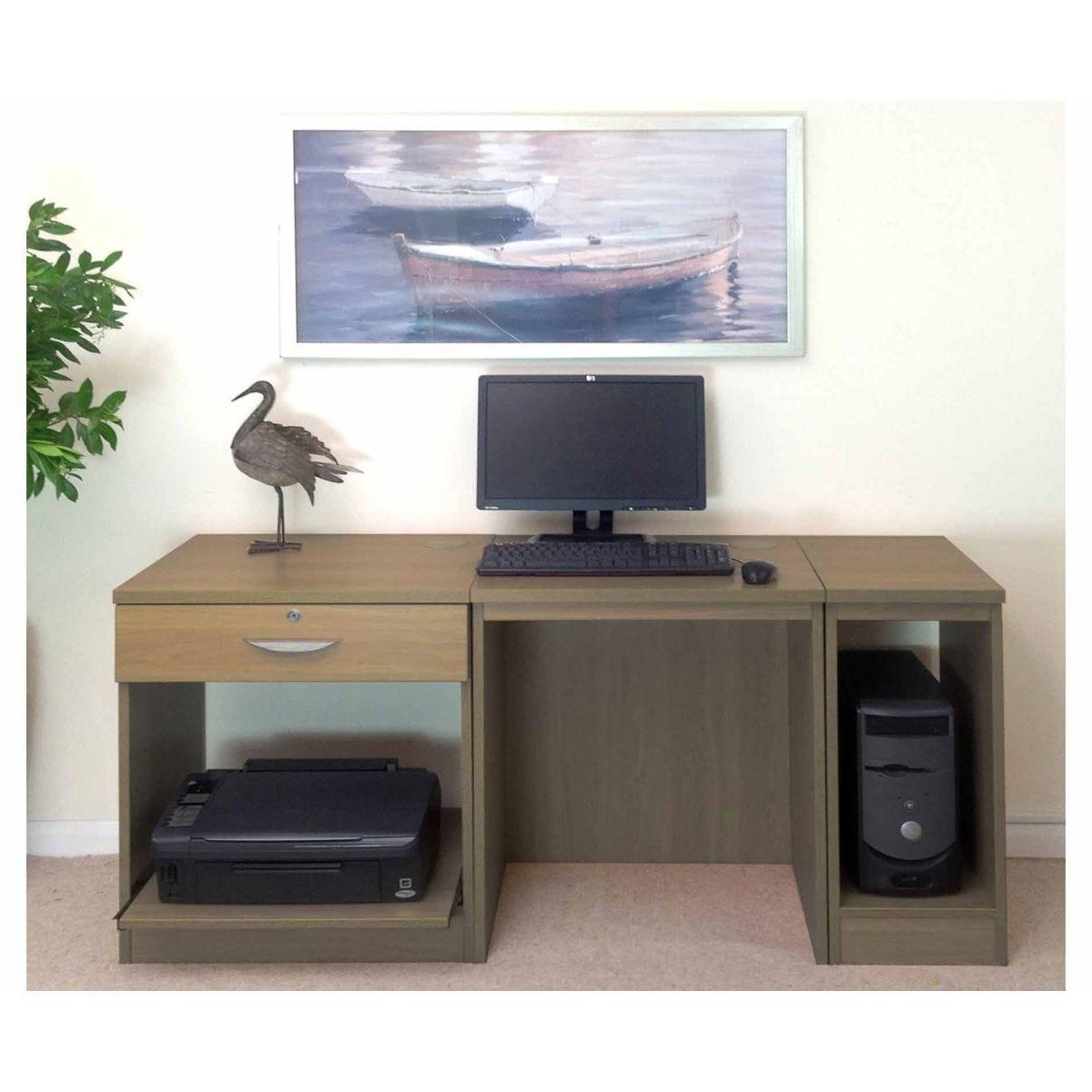 R White Home Office Furniture Desk, English Oak Wood Grain