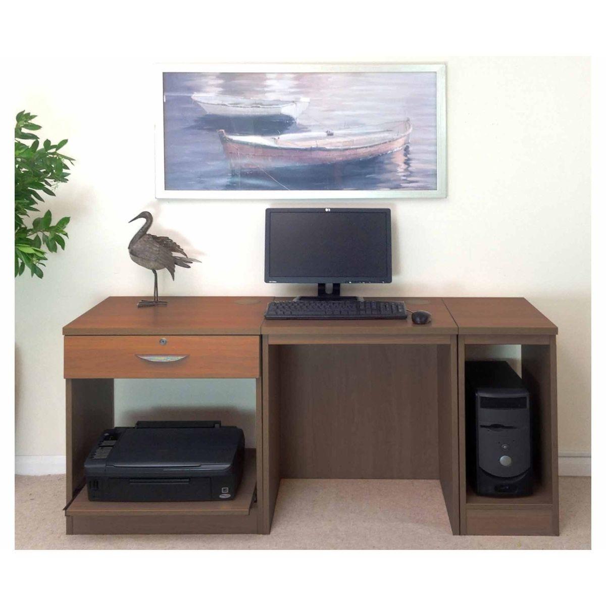 R White Home Office Furniture Desk, Teak Wood Grain