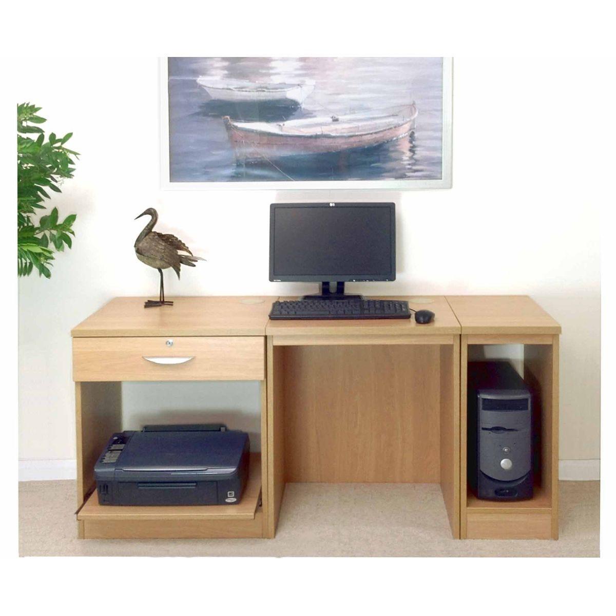 R White Home Office Furniture Desk, Classic Oak Wood Grain