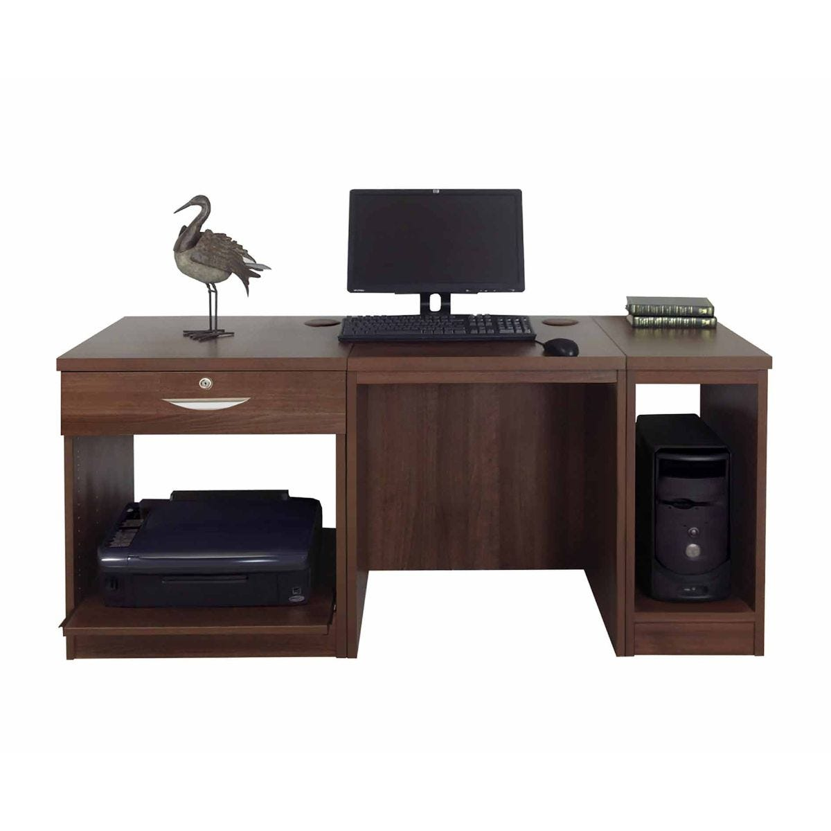 R White Home Office Furniture Desk, Walnut Wood Grain