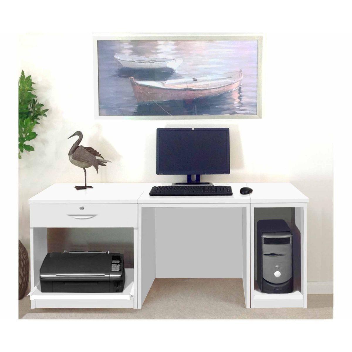 R White Home Office Furniture Desk, White Satin
