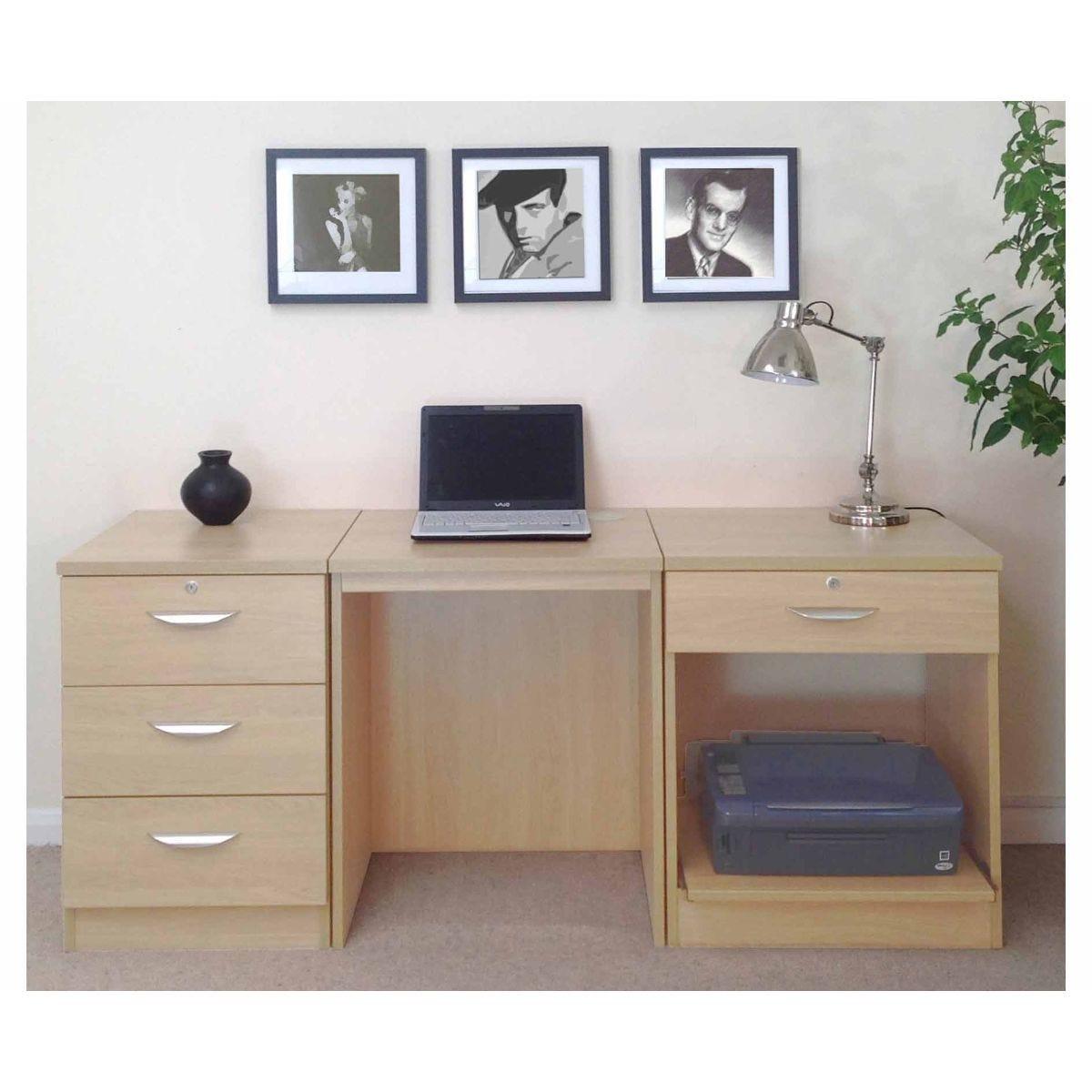R White Home Office Furniture Desk Set, Beech Wood Grain