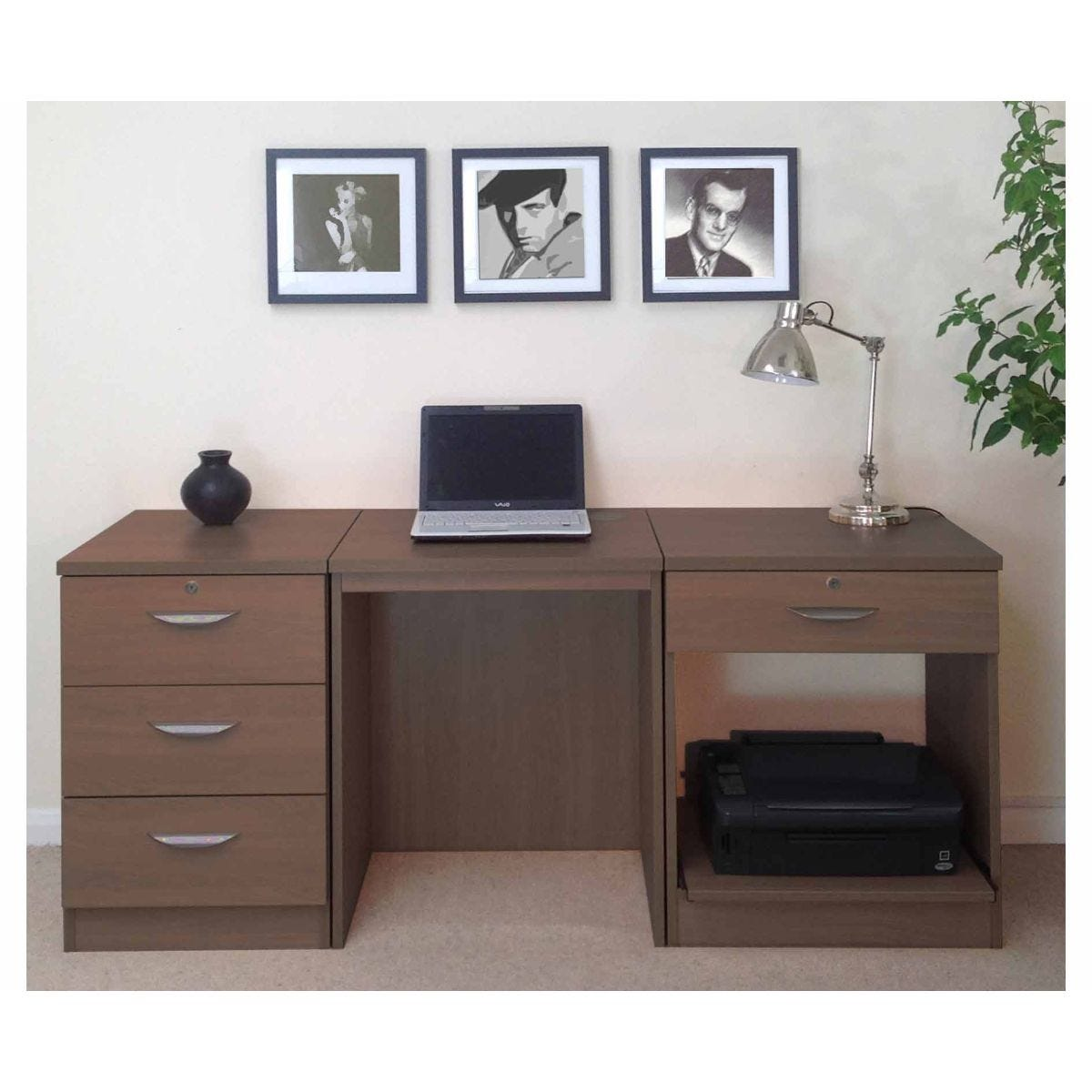 R White Home Office Furniture Desk Set, Teak Wood Grain