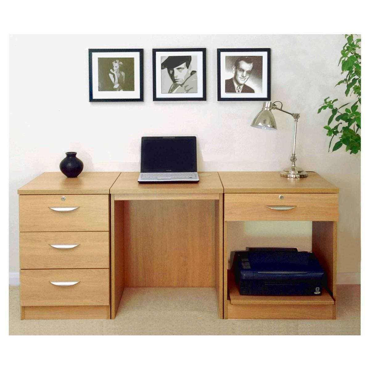 R White Home Office Furniture Desk Set, Classic Oak Wood Grain
