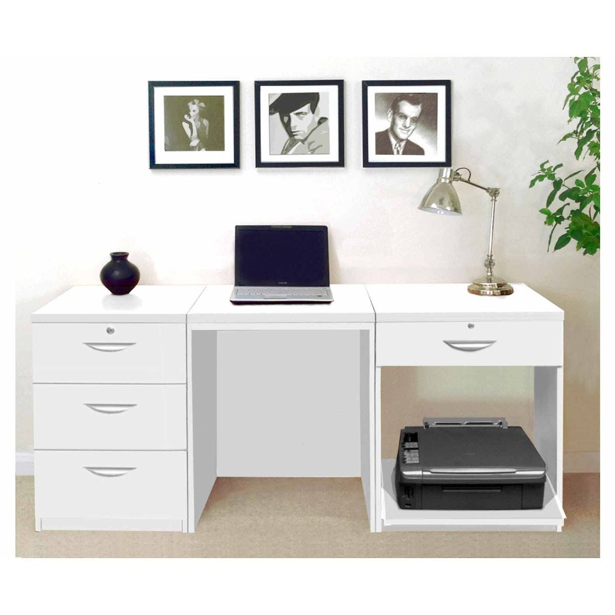 R White Home Office Furniture Desk Set, White Satin