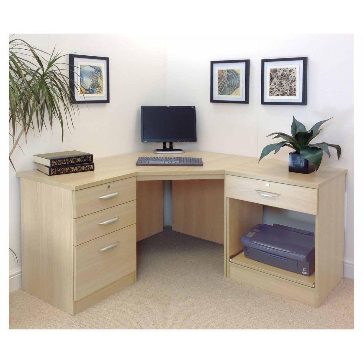 R White Home Office Corner Desk, Beech Wood Grain