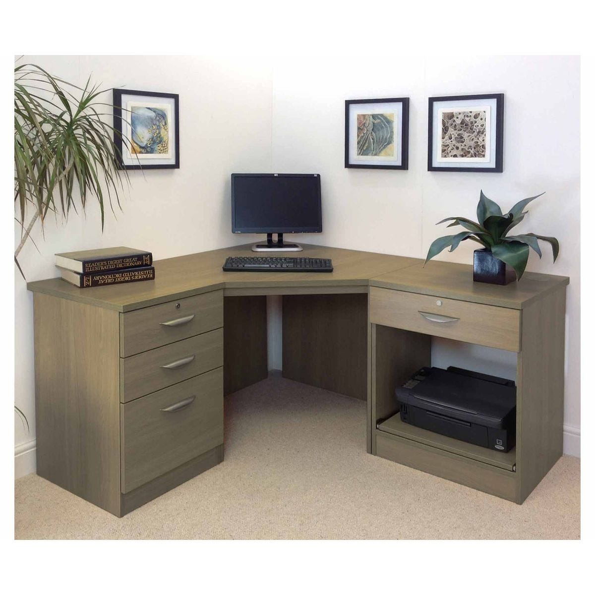 R White Home Office Corner Desk, English Oak Wood Grain