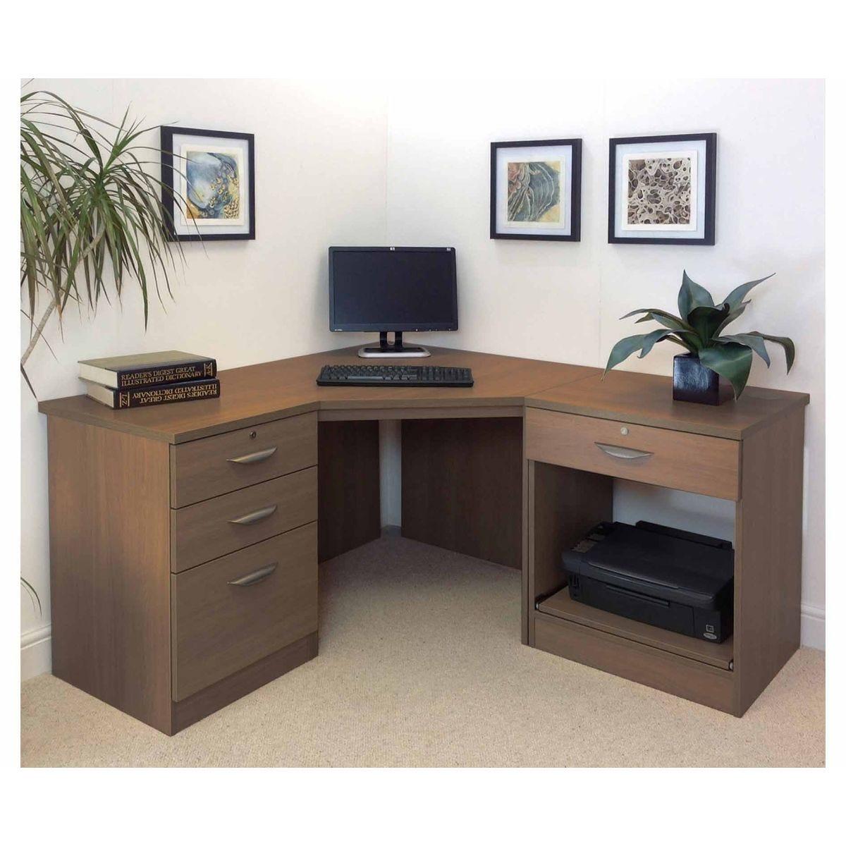 R White Home Office Corner Desk, Teak Wood Grain