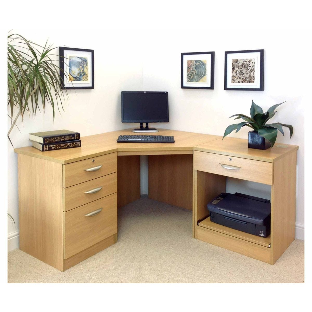 R White Home Office Corner Desk, Classic Oak Wood Grain